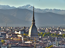 Turin and Mole Antonelliana from Villa della Regina in 2011