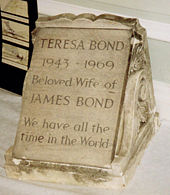 The tombstone of James Bond's wife, Teresa