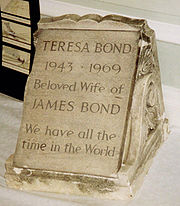 The tombstone of James Bond´s wife, Teresa, which Bond visits. Shown at a James Bond convention in 1992.