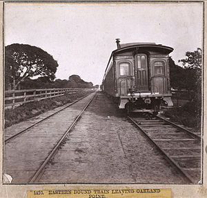 Oakland Point, Oakland, California - Historic photograph of a train at Oakland Point from 1860/1870 era