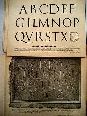 """Roman square capitals - A drawing and photographed carving by Eric Gill of the """"Trajan"""" capitals on the Column of Trajan."""