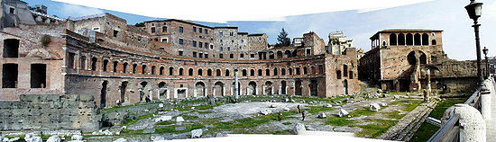 A photograph showing the landscape of the Trajan's Market in 2000.