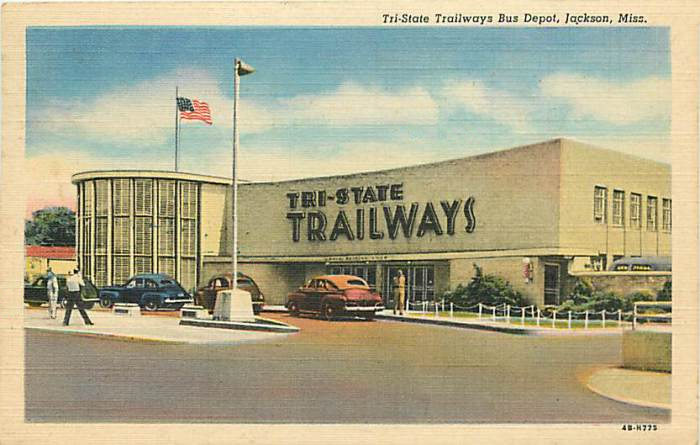 Tri-State Trailways Jackson MS Postcard