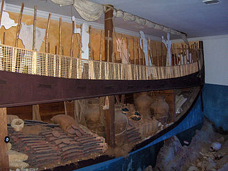 Uluburun shipwreck - Lifesize replica at the Bodrum Museum of Underwater Archaeology.