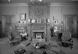 Mark Twain House - The library features hand-stenciled paneling, fireplaces from India, embossed wallpapers, and an enormous handcarved mantel that the Twains purchased in Scotland (HABS photo)