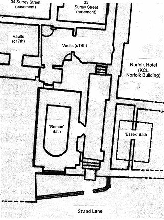 Roman Baths, Strand Lane - Plan of the Bath and its surroundings
