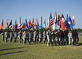 U.S. Soldiers, of U.S. Army Signal Center, and Fort Gordon participate in the formation of colors, during the opening ceremony of the Signal Center commanding general change of command ceremony, on Fort Gordon 100721-A-NF756-009.jpg