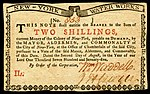 New York colonial currency, 2 shilling, 1775 (obverse)