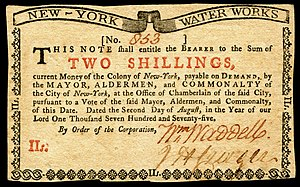 John Cruger Jr. - Colony of New York currency (1775) signed by Cruger.