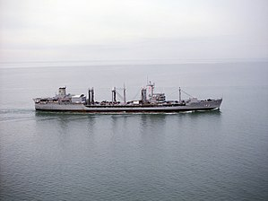 USNS Neosho (T-AO-143) underway at sea, circa in the 1980s (6392656).jpg