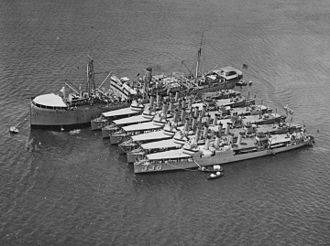 Depot ship - Image: USS Altair (AD 11) moored in Pearl Harbor with destroyers on 8 February 1925