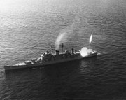 USS Canberra (CAG-2) fires a Terrier missile in February 1957 (NH 98398)