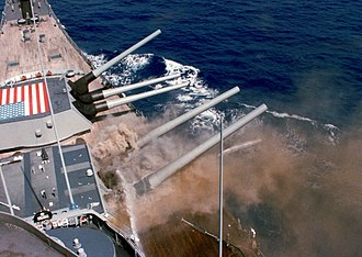 USS Iowa (BB-61) - Heavy smoke pours from Turret Two following an internal explosion on 19 April 1989.