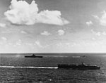 USS San Jacinto (CVL-30) and USS Lexington (CV-16) underway in June 1944.jpg