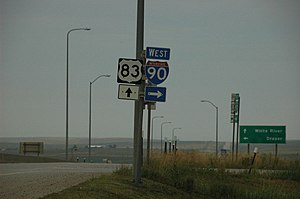 U.S. Route 83 - Looking south at the intersection of US 83 and I-90 in Murdo, South Dakota