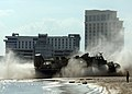US Navy 050906-N-4374S-010 A U.S. Navy Landing Craft, Air Cushion (LCAC) arrives on a ashore near Biloxi, Miss., prior to delivering Hurricane Katrina relief supplies.jpg