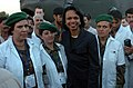 US Navy 051012-N-8796S-407 U.S. Secretary of State Condoleeza Rice stands with female members of the Afghanistan military during a visit to the Pakistan Air Force base in Chaklala, Pakistan to witness multinational relief effor.jpg