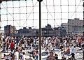 US Navy 051105-N-8544C-160 Spectators observe a Landing Craft, Air Cushion (LCAC), after it's amphibious assault landing demonstration.jpg