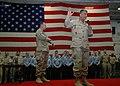 US Navy 061221-N-6700F-003 Master Chief Petty Officer of the Navy (MCPON) Joe R. Campa, Jr. addresses Sailors aboard the Nimitz-class aircraft carrier USS Dwight D. Eisenhower (CVN 69).jpg