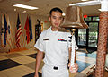 US Navy 070829-N-7427G-001 Yeoman 2nd Class Thanh Stonecyper prepares to strike bells on the quarterdeck,.jpg
