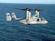 US Navy 080220-N-5180F-015 A Marine Corps MV-22 Osprey prepares to land aboard the amphibious assault ship USS Nassau (LHA 4)
