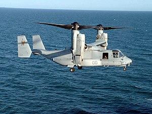 V/STOL - A U.S. Marine Corps MV-22 Osprey prepares to land aboard a ship