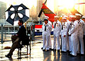 US Navy 090520-N-4995T-002 Sailors and Marines wait to be interviewed by television personality Brian Kilmeade from the morning news show Fox and Friends during a Fleet Week New York City 2009 event.jpg
