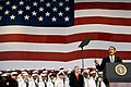 US Navy 091026-N-5549O-255 President Barack Obama delivers remarks to an audience of Sailors and Marines before introducing President Barack Obama during a visit to U.S. Naval Air Station Jacksonville.jpg