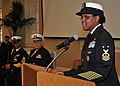 US Navy 110225-N-UN340-016 Master Chief Octavia Harris, incoming Space and Naval Warfare Systems Command command master chief, addresses the audien.jpg