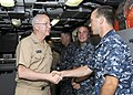 US Navy 110613-N-UK333-034 Rear Adm. Mark Tidd, Chief of Chaplains, speaks with submariners during a tour aboard the Virginia-class submarine USS H.jpg