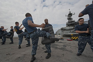 US Navy 120104-N-RR095-034 Boatswain's Mate 2nd Class Godfrey Bamfield performs a knee strike during Security Reaction Force Training aboard the am.jpg