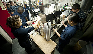 US Navy 120112-N-OY799-020 Sailors serve coffee on the mess decks aboard the Nimitz-class aircraft carrier USS John C. Stennis (CVN 74).jpg