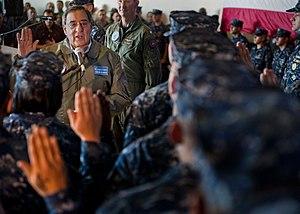 US Navy 120121-N-FI736-281 Secretary of Defense Leon E. Panetta re-enlists 21 Sailors aboard the aircraft carrier USS Enterprise (CVN 65).jpg