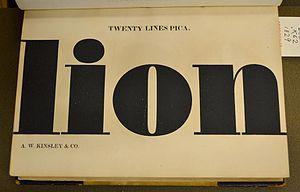 Elephant (typeface) - Image: Ultra bold Didone, Kinsley 1829