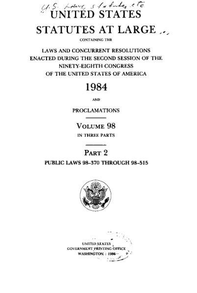 File:United States Statutes at Large Volume 98 Part 2.djvu