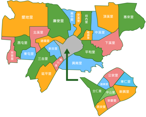 Urban villages in Huwei Township.png