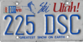 Utah license plate, 1985–1990 series with August 2001 sticker.png