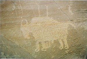 Nine Mile Canyon - The prints under this bison's hooves indicate Ute origin.