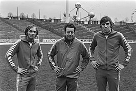 Roger Van Gool (links), Guy Thys en Jan Ceulemans in het Heizelstadion (1977).