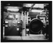 VIEW OF THE BAKE-OUT FURNACE, WHERE PARTS WERE HEATED UNDER A VACUUM TO HEAT TREAT OR TO BAKE OUT ANY IMPURITIES. (9-19-72) - Rocky Flats Plant, Uranium Rolling and Forming HAER COLO,30-GOLD.V,1R-19.tif