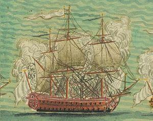 French ship Guerrier (1753) - Image: Vaisseau de 74 canons le Guerrier en 1756