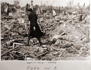 No. 50 Squadron RAF - Photograph showing the destruction at Vallø after RAFs last major strategic raid