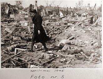 No. 50 Squadron RAF - Photograph showing the destruction at Vallø after RAFs last major strategic raid