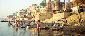 water pollution in  the ghats of river ganges are polluted