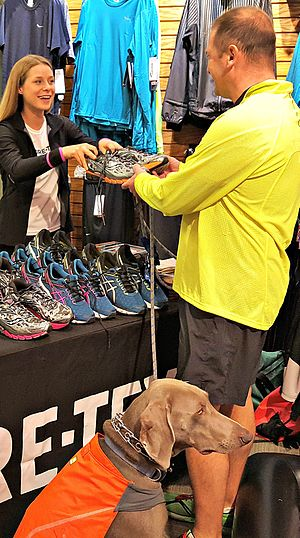 Gore-Tex - Waterproof running shoes made with Gore-Tex, offered by different manufacturers, exhibited to running club meeting at local shoe store