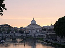 St. Peter's beyond the River Tiber at dusk