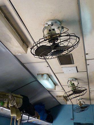 Ceiling fan - Orbit fans inside a train in Sri Lanka.