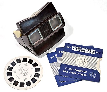 View-Master, a stereoscopic visual simulator, was introduced in 1939 View-Master with Reel.jpg