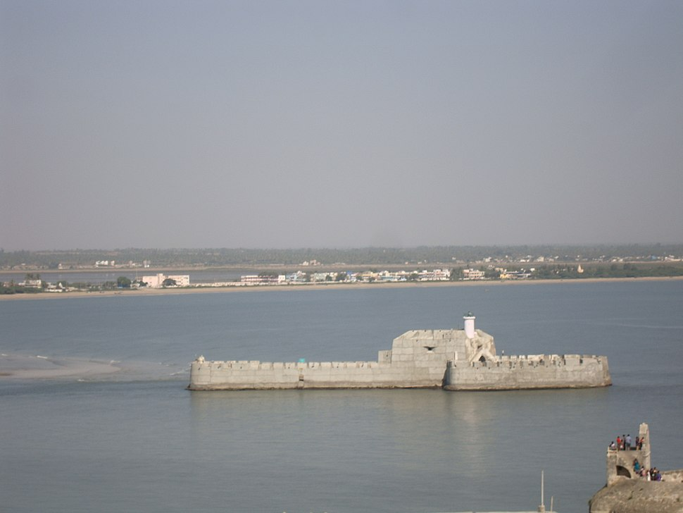 View of Water Fort Prison from Diu Fort with watch tower of Diu Fort