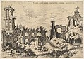 View of ruins on the Palatine Hill with trabeated facade at left and arcades at center, from the series 'The Ruins of Rome' (Praecipua aliquot Romanae antiquitatis ruinarum monimenta, vivis prospectibus) MET DP828807.jpg